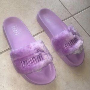 Puma Shoes - Fenty Fur Slides Lavender Orchid Purple Size 10.5 3133448b9